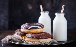 Picture milk, plate, bottle, donuts, Stolyevych Yulia