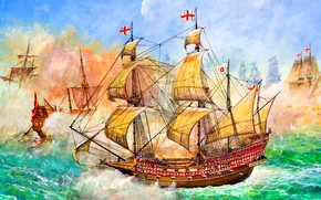 Picture Galleon, HMS Revenge, 46 cannon, Francis Drake, Naval battle