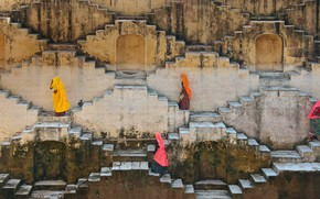 Picture women, India, ladder, Jaipur, Rajasthan, Amber Fort