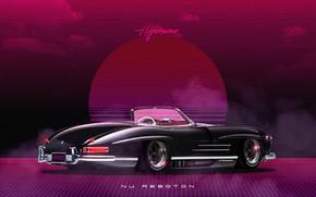Picture Roadster, Mercedes-Benz, Auto, Music, Machine, Style, Mercedes, Music, 80s, Style, Neon, Illustration, 300SL, Mercedes-Benz 300SL, …