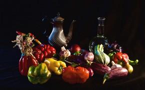 Picture oil, eggplant, pepper, garlic