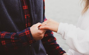 Picture romance, hands, ring, two