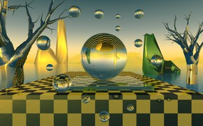 Picture balls, chess, green