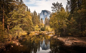 Picture autumn, forest, water, trees, mountains, reflection, rocks, CA, USA, river, yellow, Yosemite National Park, Half …