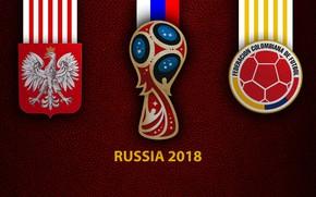 Picture wallpaper, sport, logo, football, FIFA World Cup, Russia 2018, Poland vs Colombia