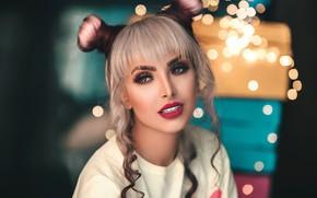Picture look, girl, makeup, blonde, hairstyle, curls, bokeh, bangs, bundles, Pagani Ali