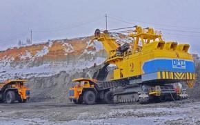 Picture Excavator, dump truck, loading, ЭКГ32Р, BelAZ