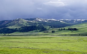 Picture greens, field, forest, the sky, grass, clouds, snow, mountains, blue, overcast, hills, the slopes, tops