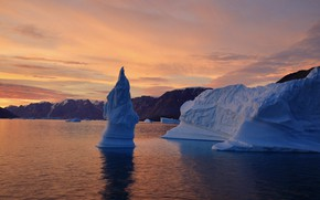 Picture sunset, nature, the ocean, rocks, ice, ice, Greenland
