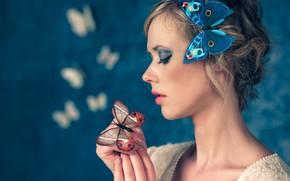 Picture girl, butterfly, face, style, mood, makeup, profile, Antonio Girlando, Santa Aprupe