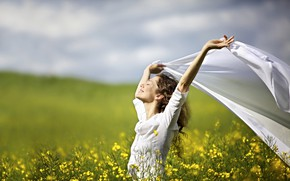 Picture greens, field, the sky, grass, girl, the sun, clouds, joy, flowers, pose, smile, mood, hairstyle, …