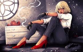 Picture girl, sitting, Explosive blonde, bullet holes