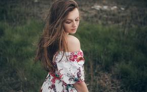 Picture summer, girl, nature, pose, hair, dress, shoulder, bokeh