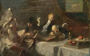 Picture picture, genre, Jean-Louis Foren, Jean-Louis Forain, At the Restaurant Maxim