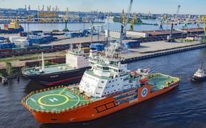Wallpaper tug, port, icebreaker