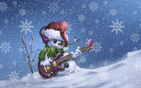 Wallpaper Winter, Guitar, Bird, Snow, Christmas, Snowflakes, Background, New year, Holiday, Merry Christmas, Snowboard, Illustration, Snowman, ...