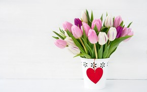 Picture pink, holiday, bouquet, tulips, Valentine's day, pots