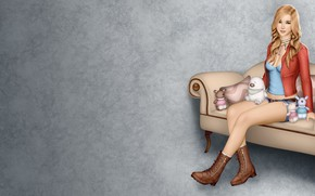 Picture girl, background, sofa, toys