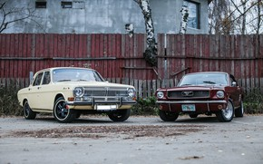 Picture machine, machine, tuning, the fence, red, wheels, Ford Mustang, sedan, tuning, muscle car, Volga, coupe, …