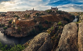 Picture the sky, the sun, clouds, trees, landscape, river, stones, rocks, home, canyon, panorama, Spain, Toledo