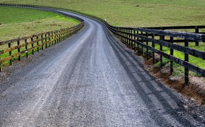 Picture road, field, the fence
