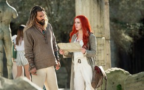 Picture girl, map, male, red, Amber Heard, Amber Heard, Jason Momoa, Arthur Curry, Mera, In Aquaman