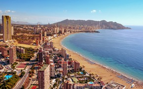 Picture sea, beach, home, panorama, Spain, Benidorm