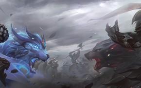 Wallpaper Wolf, League of Legends, League Of Legends, Leo, Axe, Garen, Sword, Darius, Versus, Art, Garnier, ...