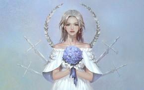 Picture Flowers, Girl, Minimalism, Look, Style, Girl, Sword, Fantasy, Swords, Art, Art, Flower, Flowers, Style, Fiction, …