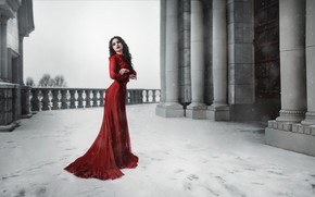 Picture winter, look, girl, snow, pose, the building, dress, brunette, beauty
