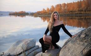 Picture autumn, look, girl, nature, pose, river, stones, beauty, bokeh, Evgeniy Chufarov