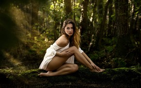Wallpaper beauty, in a white dress, welcome, forest nymph, charming girl, model posing, alone in the ...