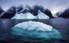 Picture ice, winter, sea, the sky, mountains, fog, rocks, shore, tops, ice, glacier, iceberg, haze, floe, …