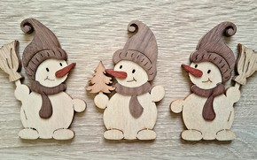 Picture holiday, Christmas, New year, snowman, wooden toys