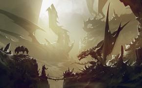 Picture Horse, Dragon, Rocks, Warrior, Gorge, Fantasy, Dragon, Art, Dragons, Fiction, Omar Bronze, by Omer Tunc, …