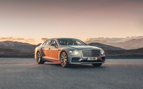 Picture sunset, Bentley, the evening, Flying Spur, 2020, Blackline