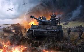 Picture battlefield, gun, soldier, smoke, weapon, man, plane, hero, Germany, german, warrior, tank, ww2, uniform, seifuku, …