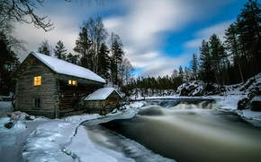 Picture winter, forest, snow, landscape, nature, house, river, the evening, national Park, Finland, Lapland, Oulanka