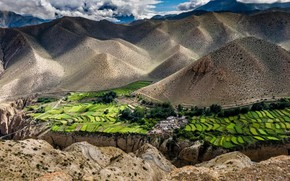 Picture mountains, field, village, panorama, Nepal