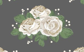 Picture flowers, background, pattern, roses, white, buds