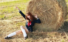 Picture summer, girl, hay