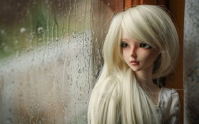 Picture blonde, doll, window, rain