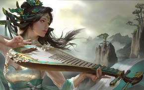 Picture girl, landscape, music, mood, the game, anime, fantasy, art, bard, Ley Bowen 张, 签约画师-自由插画师