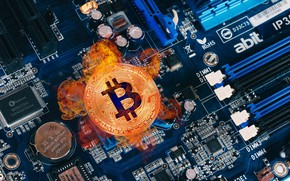 Picture photo, Coins, Fire, Computers, Money, Bitcoin