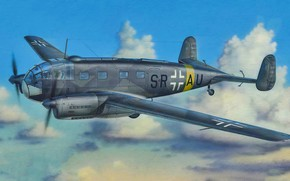 Picture art, airplane, aviation, Siebel Si 204