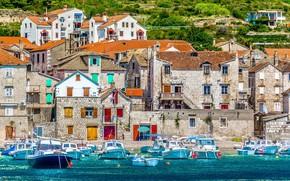 Picture sea, Marina, home, boats, promenade, Croatia, the island of Vis, средиземноморская архитектура, старый рыбацкий город …