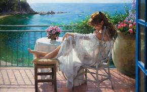 Picture girl, dress, sea, landscape, art, flowers, barefoot, chair, painting, brunette, artist, table, sitting, white dress, …
