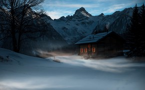 Picture house, twilight, Winter, trees, landscape, nature, mountains, snow, evening, cold, mist, cabin, pine trees