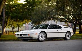 Picture white, BMW, BMW M1, E26, M1, левым боком