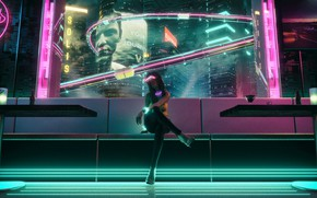 Picture Girl, Glasses, Style, Girl, Background, City, Fantasy, Art, Style, Neon, Club, Club, Illustration, Sci-Fi, Blade …